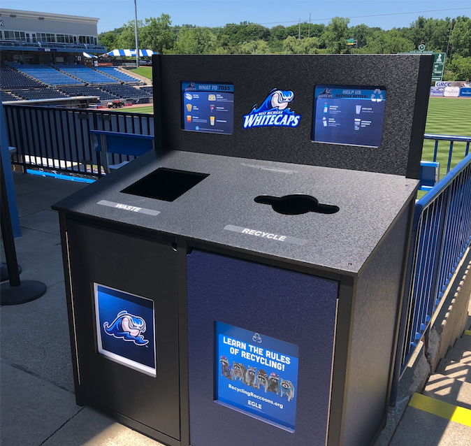 Recycling Bin at West Michigan White Caps Baseball