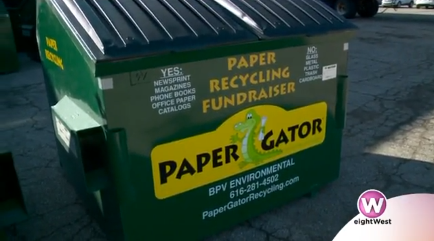 Green and Yellow Paper Gator Recycling Bin