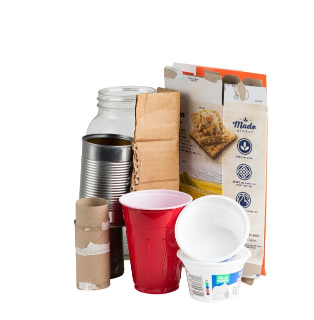 Recyclable items - A plastic cup, a cracker box and more