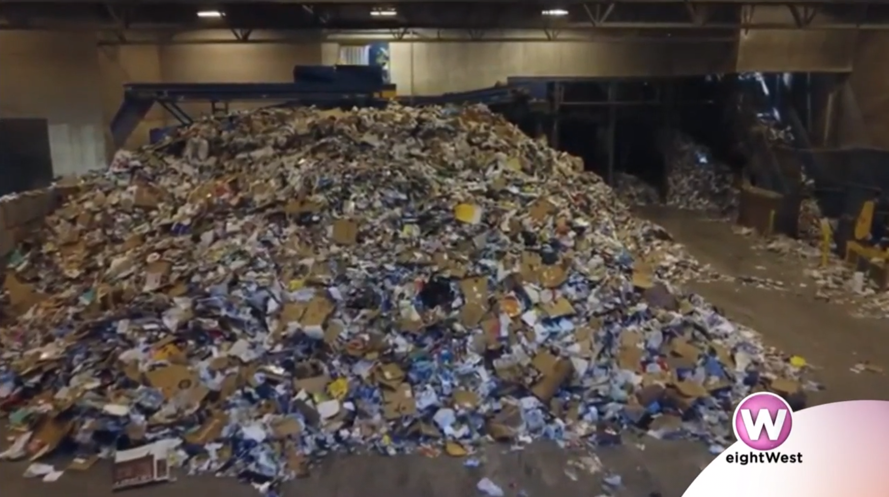 A pile of goods to be recycled at a recycling center