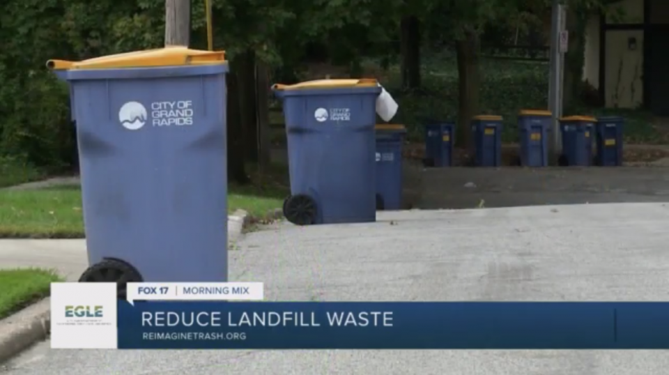 Blue Recycling Bin with City of Grand Rapids logo